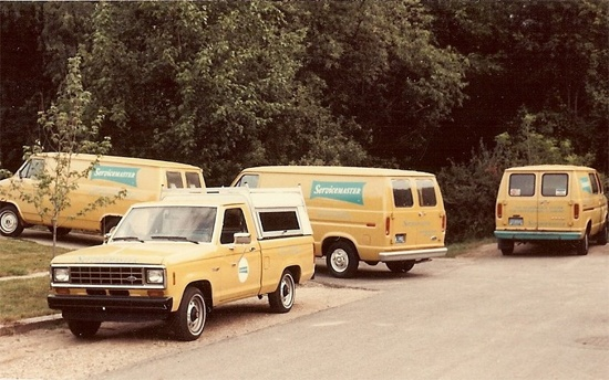 servicemaster of kalamazoo yellow vans from 1980s