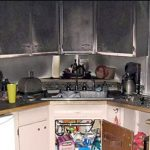 smoke damage in kitchen