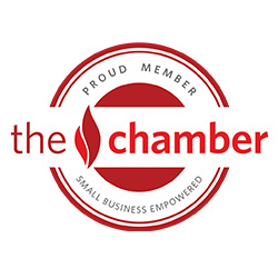 the chamber of kalamazoo red logo