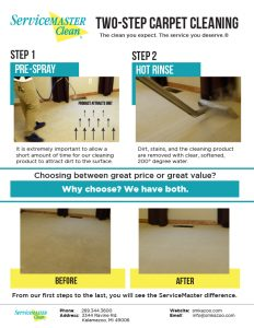 one sheet page explaining our two step carpet cleaning process