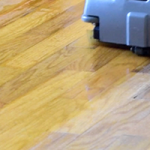 before and after picture during hardwood floor cleaning