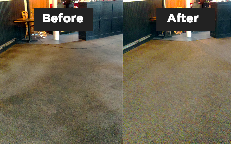before and after of carpet cleaning in restaurant