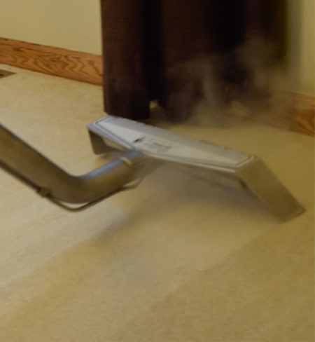 up close shot of professional steam cleaning