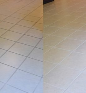 before and after tile and grout two different colors it looks like