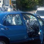blue vehicle in accident and needs specialty cleaning