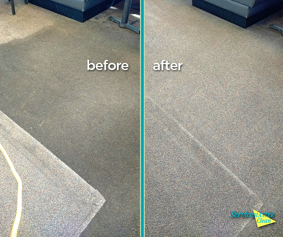 before and after shot of carpet business cleaning at a restaurant in Kalamazoo