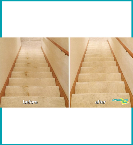 tar marks on carpeted stairs - before and after carpet cleaning side by side