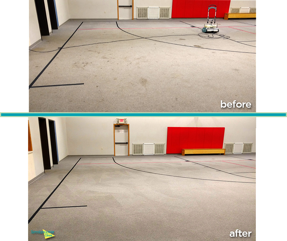 before and after light gym carpet cleaning