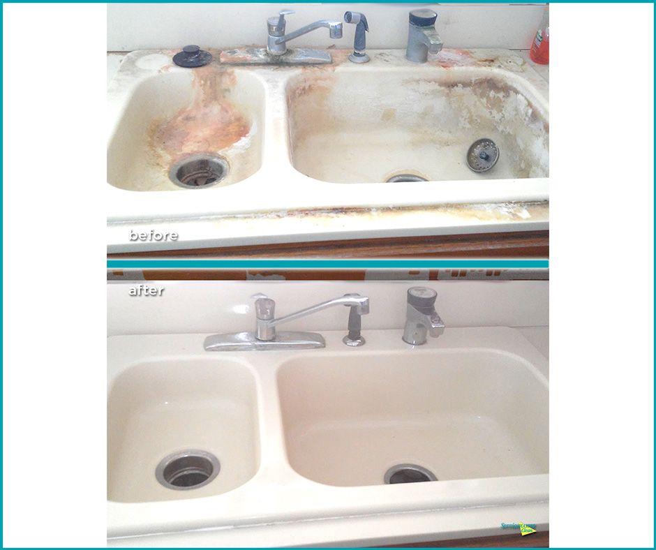 before and after kitchen sink cleaning