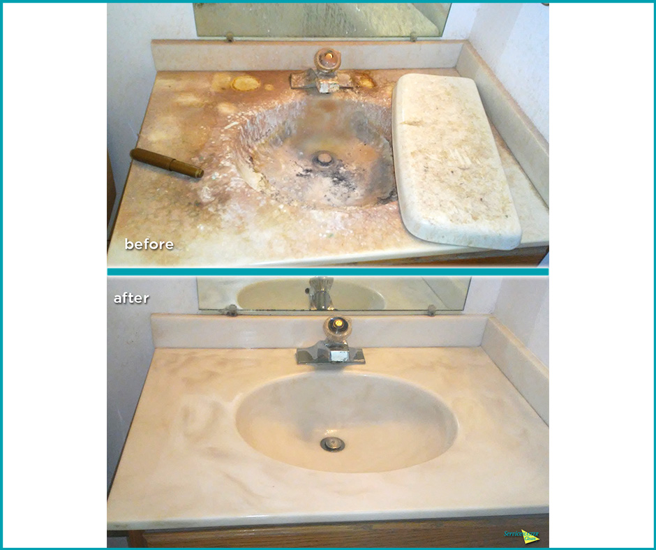 bathroom sink cleaning before and after
