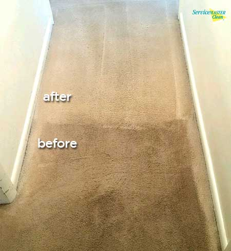 before and after hallway carpet cleaning