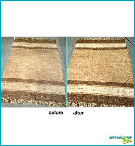 before and after brown rug cleaning