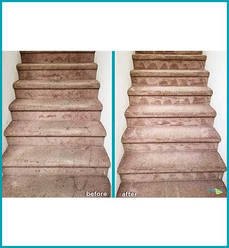 before and after carpet cleaning light brown carpet stairs