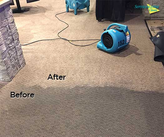 before and after restaurant carpet cleaning
