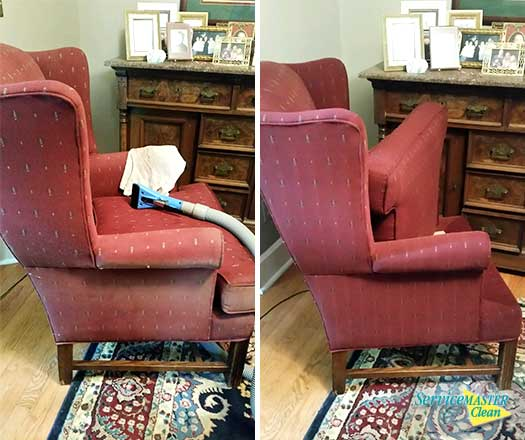 Before And After Cleaning Maroon Cushioned Chair