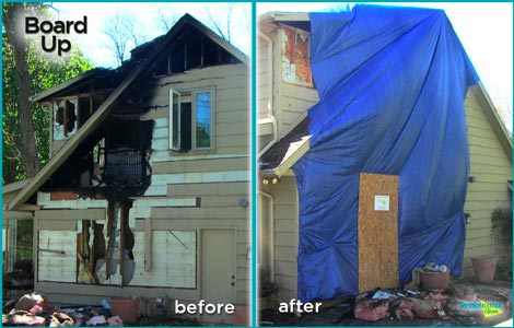before and after of board up service after home fire