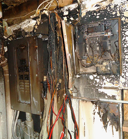 fire damage to electrical box