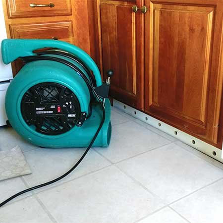drying baseboard with high velocity fan