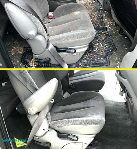 before and after picture of car scabies cleanup