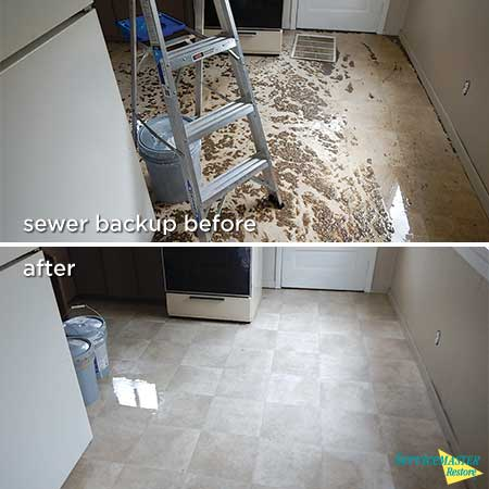 sewer back up before and after