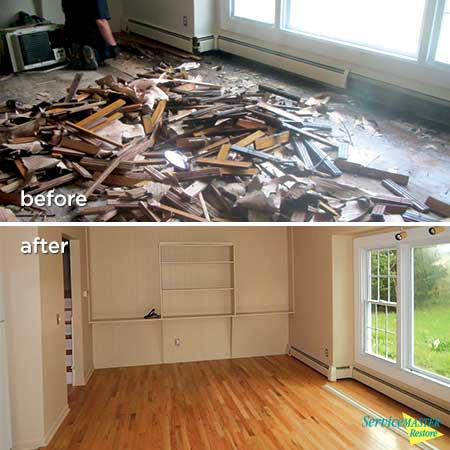 living room water damage before and after
