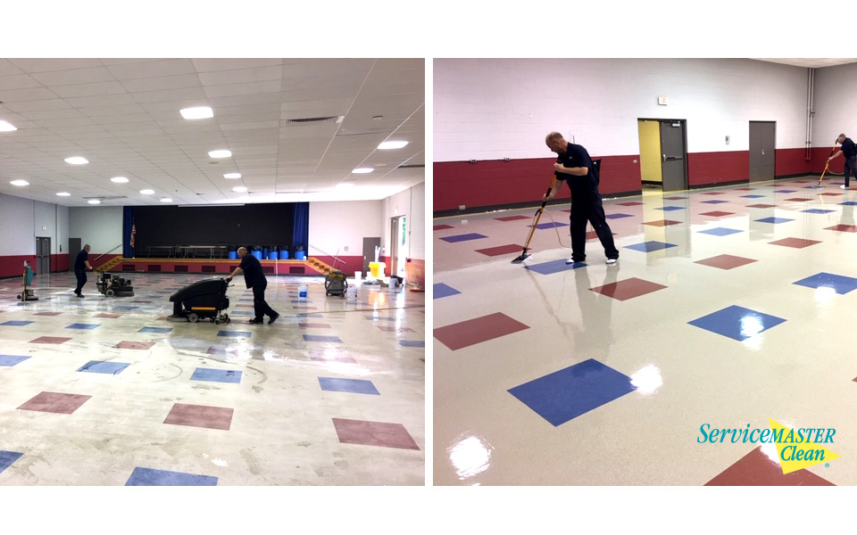 before and after vct hard surface floor cleaning