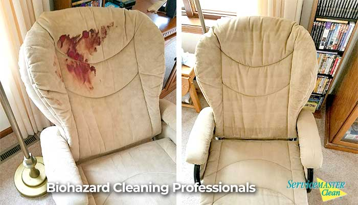 blood on upholstered chair before and after cleaning