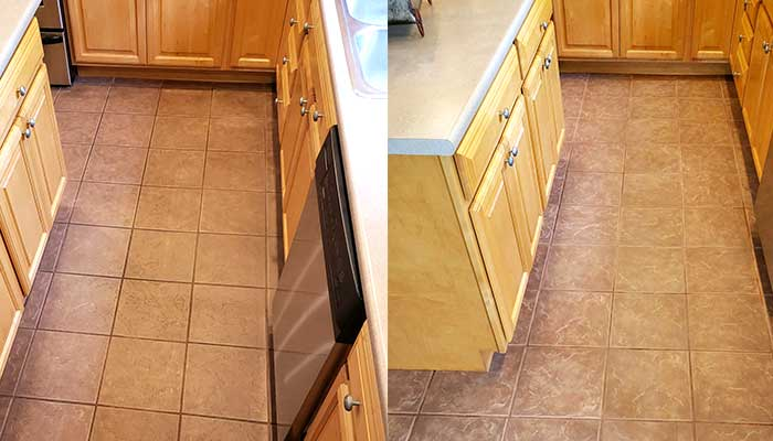 tile and grout before and after cleaning