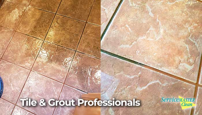 before and after action shot tile & grout cleaning
