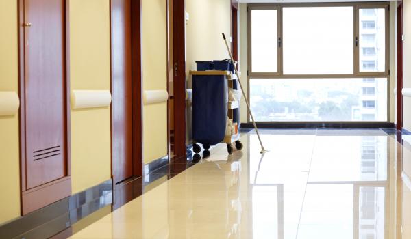 Interior of empty corridor of hospital