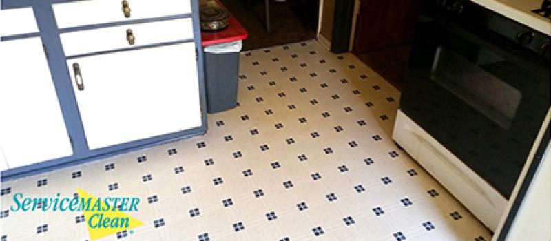 spill cleaned on linoleum floor