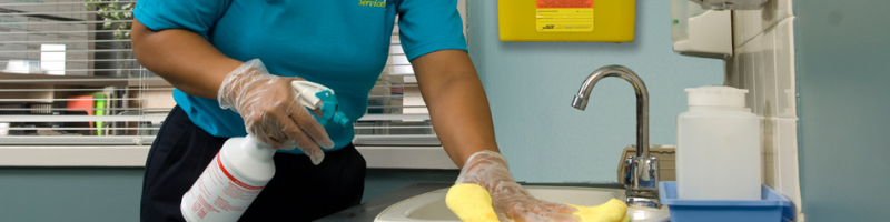 healthcare cleaning in patient office wiping surface